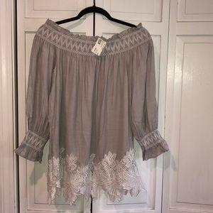 Tops - Off the shoulder grey blouse